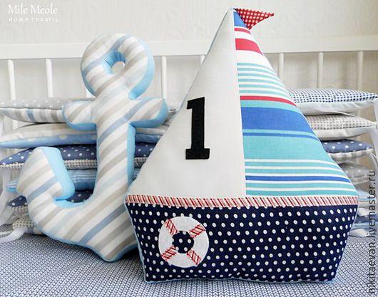 Детская ручной работы. Ярмарка Мастеров - ручная работа. Купить Подушка Кораблик. Handmade. Синий, набивные буквы, детская подушка