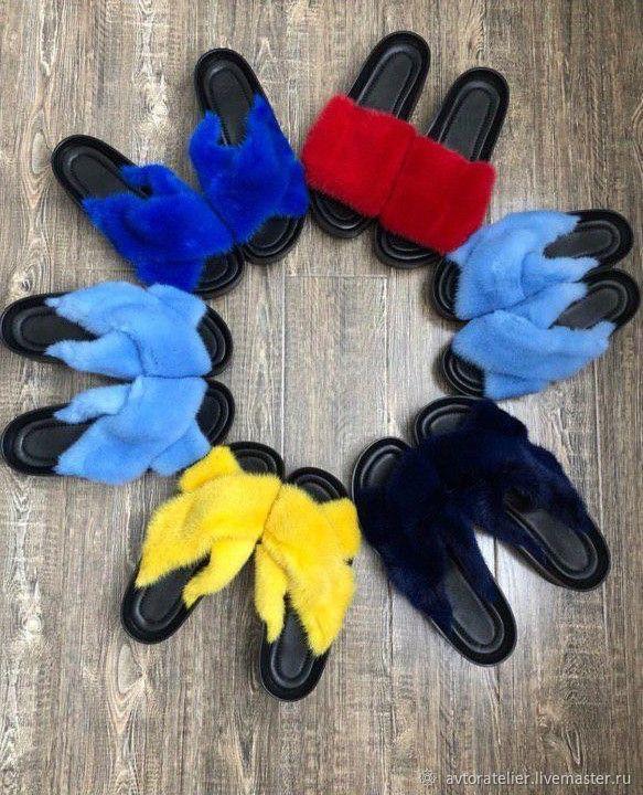 Обувь ручной работы. Ярмарка Мастеров - ручная работа. Купить Тапочки из норки. Handmade. Мех, обувь на заказ, норковые тапочки