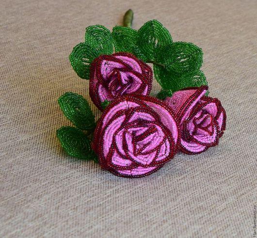 """Цветы ручной работы. Ярмарка Мастеров - ручная работа. Купить Роза """"Трио"""" в розовом. Handmade. Цветы из бисера, декор интерьера"""