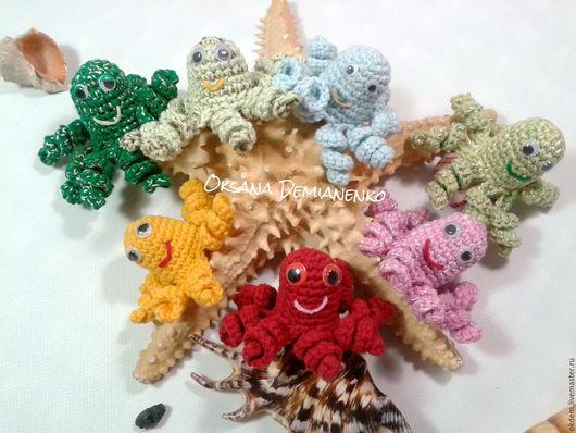 Развивающие игрушки ручной работы. Ярмарка Мастеров - ручная работа. Купить Набор вязанных осьминогов для пальчиковых игр с детьми (7 штук). Handmade.