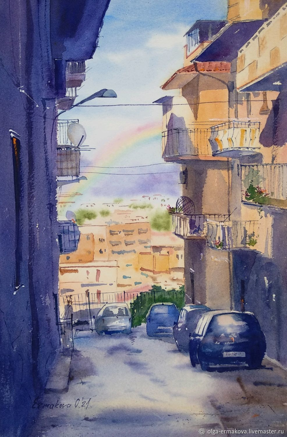 Europa Street watercolor painting. Italy Island of Sicily, Pictures, Moscow,  Фото №1