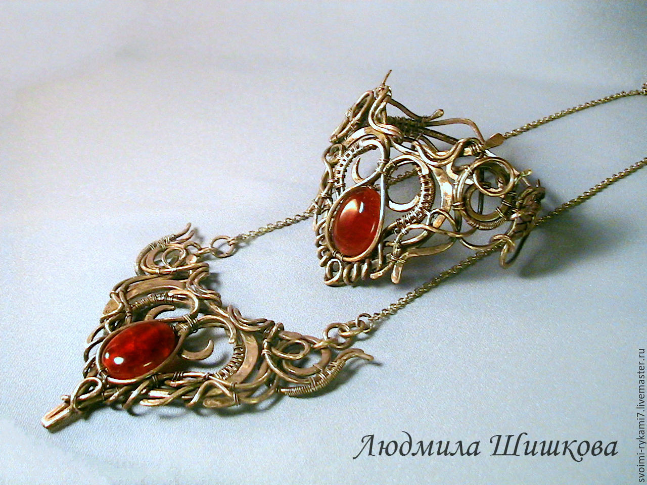 Jewelry Sets handmade. Livemaster - handmade. Buy Set ' Eileen '.Wire wrap, agate, agate