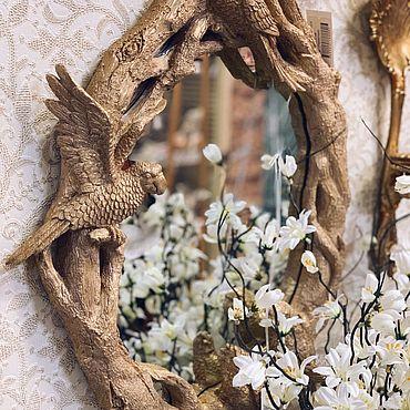 Для дома и интерьера ручной работы. Ярмарка Мастеров - ручная работа Зеркало Золотой попугай - одно без повтора. Handmade.