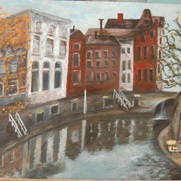 Картины и панно ручной работы. Ярмарка Мастеров - ручная работа Улочка в Утрехте. Handmade.