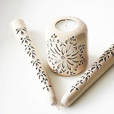 Свадебный салон ручной работы. Ярмарка Мастеров - ручная работа Свадебные резные свечи - свечи единства - бежевый коричневый - свечи. Handmade.