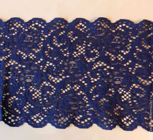 Шитье ручной работы. Ярмарка Мастеров - ручная работа. Купить Кружево гипюровое темно-синее 15см. Handmade. Кружево