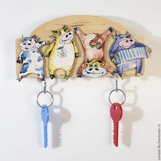 """Прихожая ручной работы. Ярмарка Мастеров - ручная работа. Купить Ключница настенная """"Веселые коровы"""". Handmade. Комбинированный, ключница деревянная"""