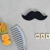 Украшения handmade. Livemaster - original item Embroidered brooch Black mustache. Handmade.