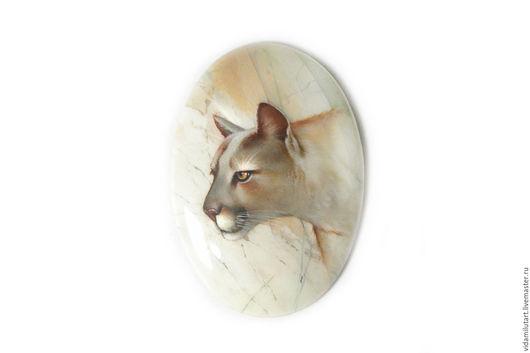 Роспись по камню ручной работы. Ярмарка Мастеров - ручная работа. Купить Пума на яшме. Handmade. Бежевый, большая кошка