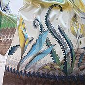 """Аксессуары ручной работы. Ярмарка Мастеров - ручная работа Батик шарф """"Озёрные травы"""". Handmade."""