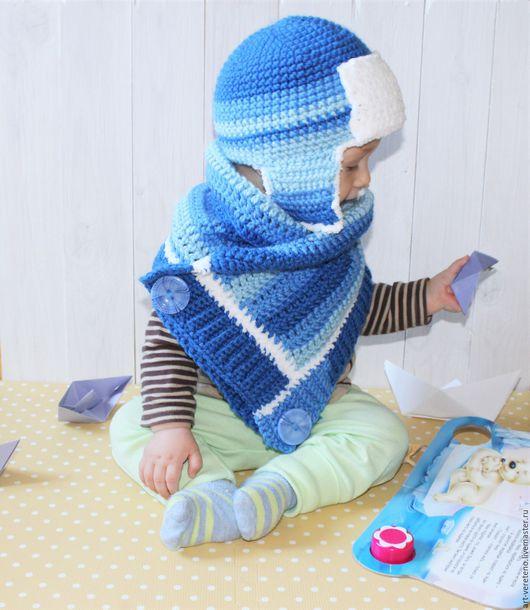 Шапки и шарфы ручной работы. Ярмарка Мастеров - ручная работа. Купить Шапка-ушанка двойная. Handmade. Тёмно-синий, микрофибра