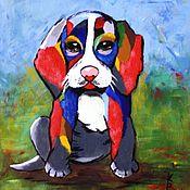 Картины и панно ручной работы. Ярмарка Мастеров - ручная работа Картина-панно Яркий щенок. Handmade.