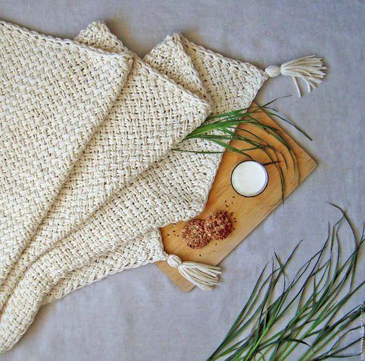 """Текстиль, ковры ручной работы. Ярмарка Мастеров - ручная работа. Купить Вязаный плед из шерстяного шнура """"Молочный"""". Handmade. Белый"""