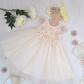 Работы для детей, handmade. Livemaster - original item Fatinovoe vacaciones pomposo vestido con flores de encaje para las niñas.. Handmade.