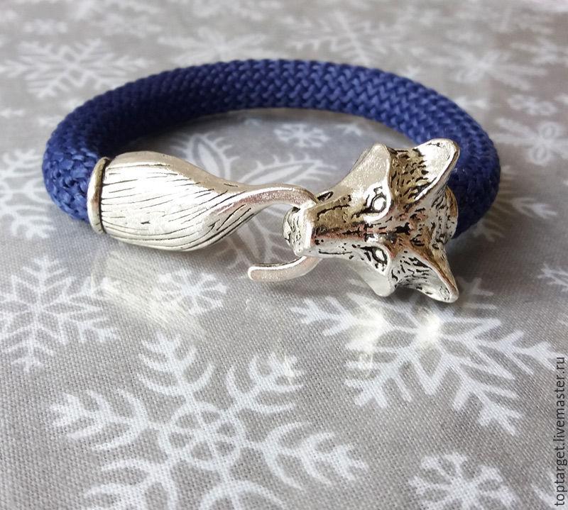Браслет из текстильного шнура унисекс с головой волка
