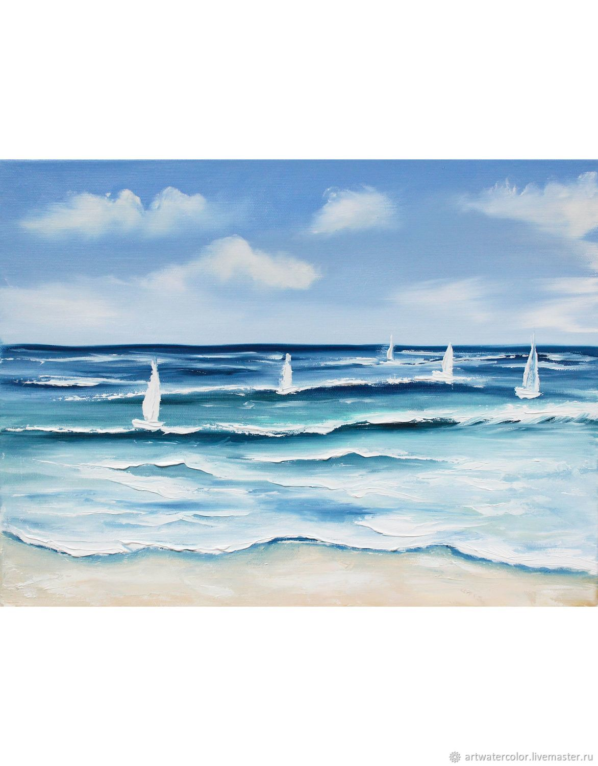 Oil painting Sailboats Seascape, Pictures, Moscow,  Фото №1