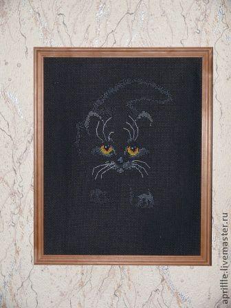 Животные ручной работы. Ярмарка Мастеров - ручная работа. Купить черный кот. Handmade. Черный, Вышитая картина, вышивка ручная