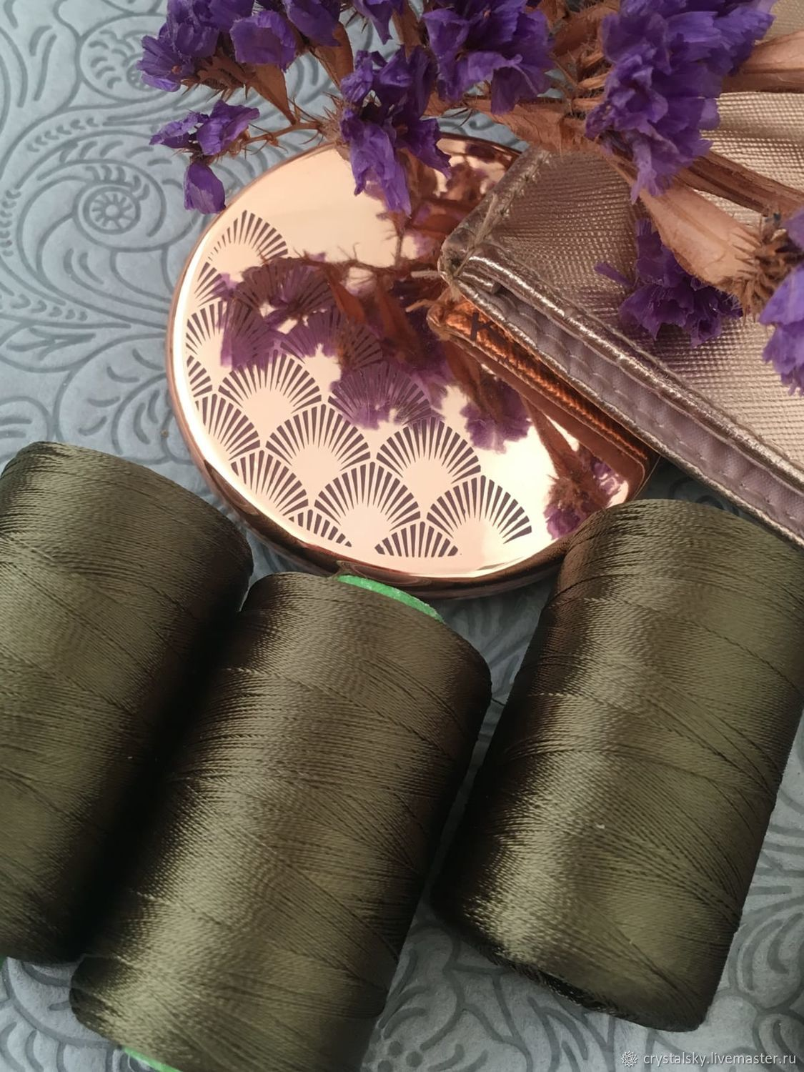 Silk threads for embroidery and brushes India, 'Dark olive', Bordado manualidades, Jerusalem, Фото №1