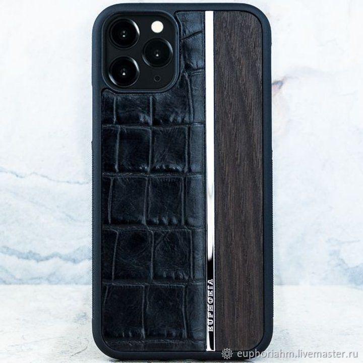 Premium iPhone CROC Leather Metal Wood - кожаный чехол iPhone, Чехол, Иваново,  Фото №1