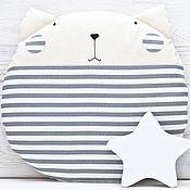 Для дома и интерьера ручной работы. Ярмарка Мастеров - ручная работа Полосатая подушка кот, декор в детскую, подарок на новоселье. Handmade.
