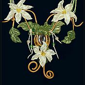 Аксессуары ручной работы. Ярмарка Мастеров - ручная работа колье ручной работы из запекаемой полимерной глины белые лилии. Handmade.