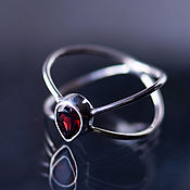 Украшения handmade. Livemaster - original item Delicate, delicate Infinity ring with red garnet drop. Handmade.