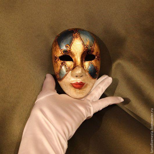 Интерьерные  маски ручной работы. Ярмарка Мастеров - ручная работа. Купить Маска венецианская Вольто Золото на голубом (мини). Handmade.