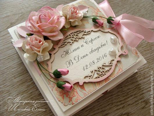 Свадебные открытки ручной работы. Ярмарка Мастеров - ручная работа. Купить коробочка для денежного подарка (цвет любой). Handmade. Розовый