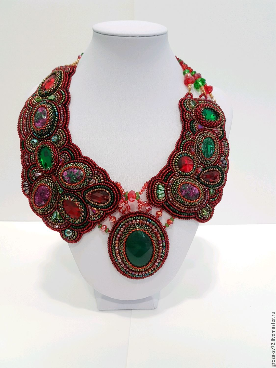 Necklace embroidered with beads 'Asymmetry', Necklace, Moscow,  Фото №1