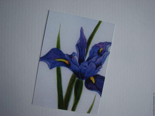 """Открытки для женщин, ручной работы. Ярмарка Мастеров - ручная работа. Купить Почтовая открытка """"Ирис японский фиолетовый """". Handmade."""