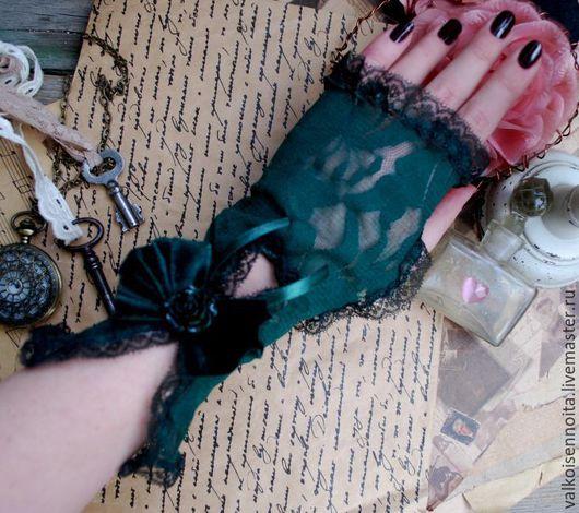 Варежки, митенки, перчатки ручной работы. Ярмарка Мастеров - ручная работа. Купить Кружевные изумрудные митенки. Handmade. Митенки