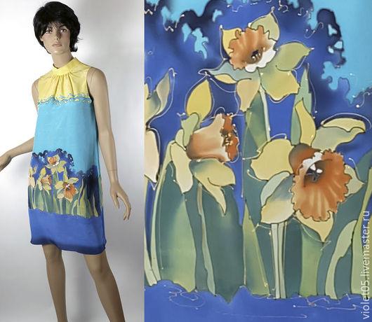 Платья ручной работы. Ярмарка Мастеров - ручная работа. Купить Платье со стойкой  40-42 р  с нарциссами. Handmade.