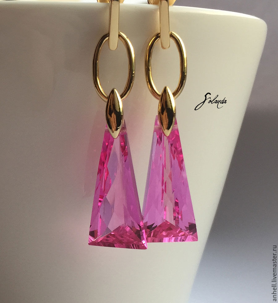 Earrings Handmade Livemaster With Pink Topaz Trend