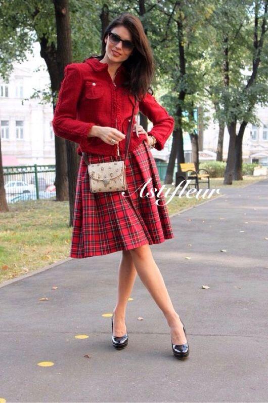 Юбки ручной работы. Ярмарка Мастеров - ручная работа. Купить Теплая  шерстяная юбка   в клеточку красная  бантовая складка. Handmade.