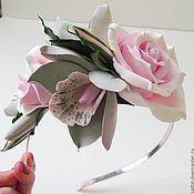 Украшения ручной работы. Ярмарка Мастеров - ручная работа Розовый дым - ободок для волос. Handmade.