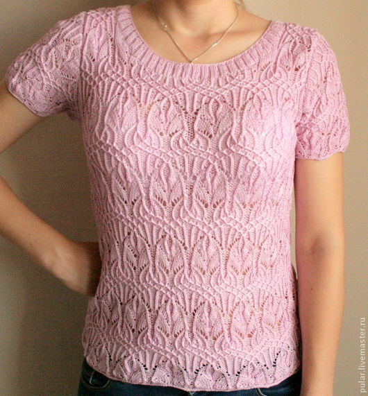 Кофты и свитера ручной работы. Ярмарка Мастеров - ручная работа. Купить летний ажурный джемпер Розовая жемчужина. Handmade.