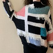 Одежда handmade. Livemaster - original item Jerseys: Hand knitted Sweater..mohair sweater colorblock. Handmade.