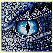 Картины ручной работы. Ярмарка Мастеров - ручная работа Картина Акрил Голубой Глаз Дракона в рамке Купить интерьерную картину. Handmade.