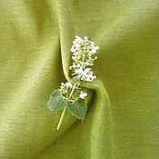 Материалы для творчества handmade. Livemaster - original item Linen with cotton green bamboo, width 150 cm. Handmade.