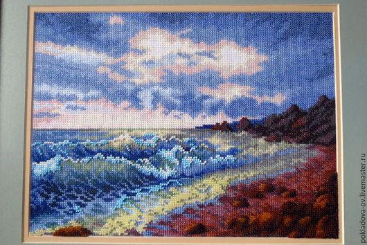 Пейзаж ручной работы. Ярмарка Мастеров - ручная работа. Купить Вышитая картина Морской бриз. Handmade. Пейзаж, картина для интерьера