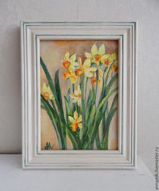 """Картины цветов ручной работы. Ярмарка Мастеров - ручная работа. Купить """"Первые нарциссы"""" картина маслом. Handmade. Картина в подарок"""