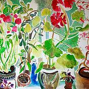 Картины и панно ручной работы. Ярмарка Мастеров - ручная работа Картина. Утренний натюрморт с геранью. Handmade.