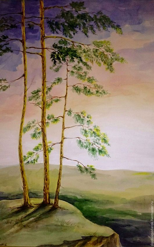 """Пейзаж ручной работы. Ярмарка Мастеров - ручная работа. Купить картина """"Тишина"""". Handmade. Картина, сосна, недорогой подарок, картон"""