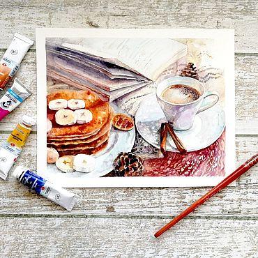 """Картины и панно ручной работы. Ярмарка Мастеров - ручная работа Акварельная картина """"Теплый кофе зимним вечером"""". Handmade."""