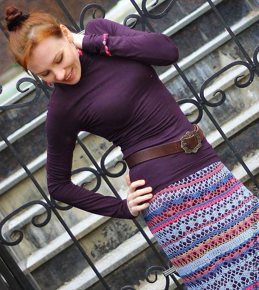 Юбки ручной работы. Ярмарка Мастеров - ручная работа. Купить Вязаная юбка Violet Jazz. Handmade. Голубой, мистика, вязанаяюбка