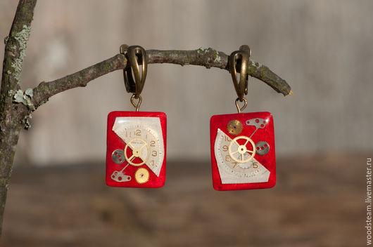 Серьги ручной работы. Ярмарка Мастеров - ручная работа. Купить Серьги (шпон Клён птичий глаз). Handmade. Красный