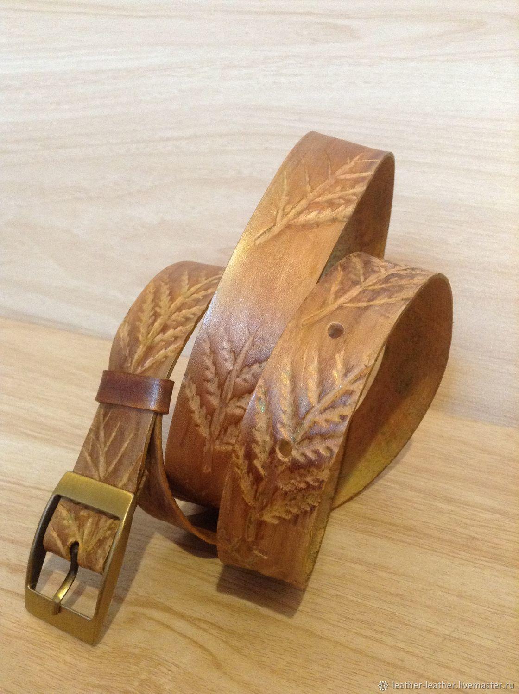 75da05f943b1 Кожаный бронзовый женский ремень с папоротником ручной работы – купить в ...
