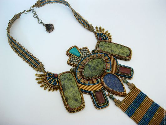 """Колье, бусы ручной работы. Ярмарка Мастеров - ручная работа. Купить Колье """"Царица Египта"""". Handmade. Комбинированный, голубой, полосатый"""