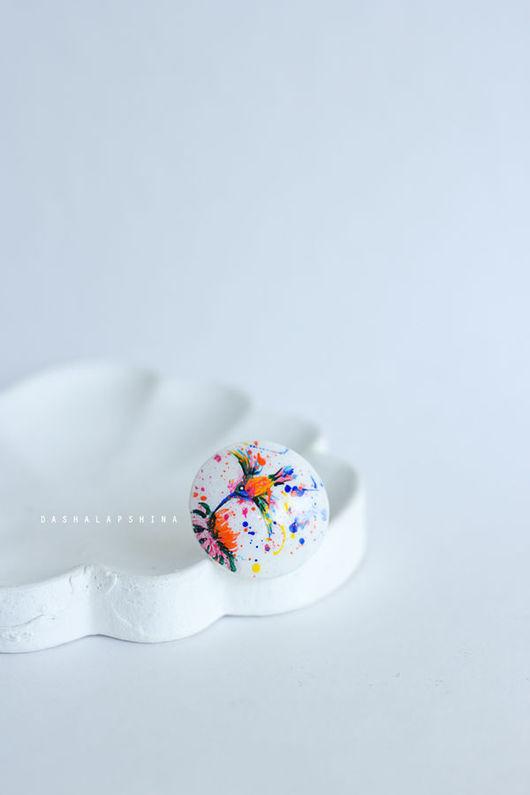 """Кольца ручной работы. Ярмарка Мастеров - ручная работа. Купить Кольцо с росписью """"Колибри"""". Handmade. Разноцветный, подарок девушке"""