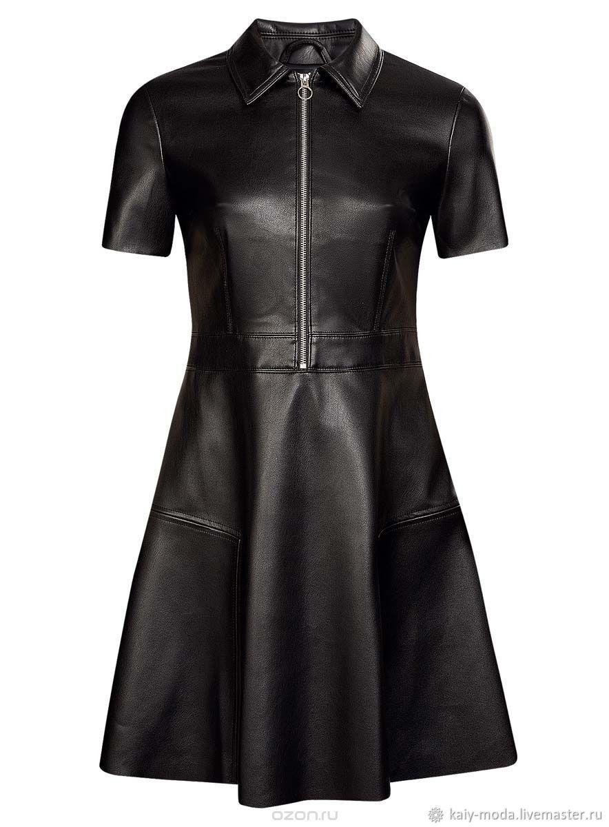 Черное кожаное платье на молнии, Платья, Москва,  Фото №1